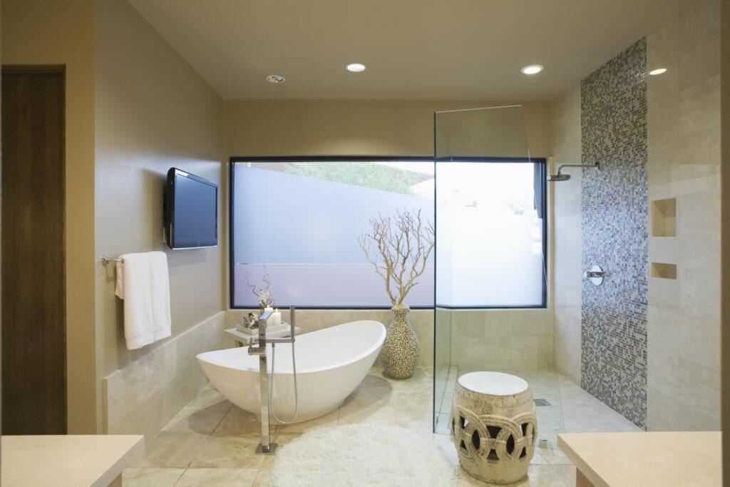 kitchen with white bathtub
