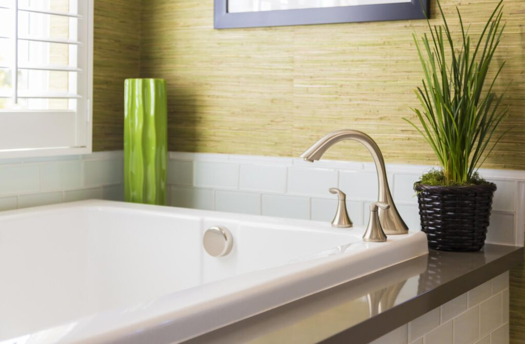 a bathtub with plant on the side